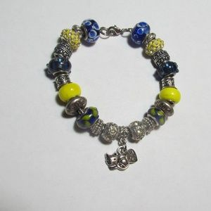 Jewelry - Cat Lover Murano Glass Bead Charm Bracelet NWOT